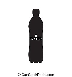 agua, negro, botella, ilustración, vector, silueta