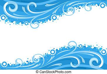 agua, ondas, fronteras