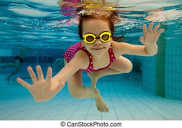agua, piscina, debajo, niña, sonrisas, natación