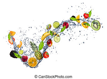 agua, salpicadura, mezcla, fruta, plano de fondo, aislado, blanco
