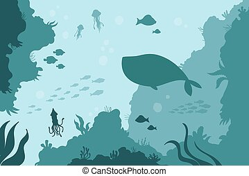aguas, fondo, calamar, ballena, coral, submarino, sal del mar, arrecife, océano, medusa