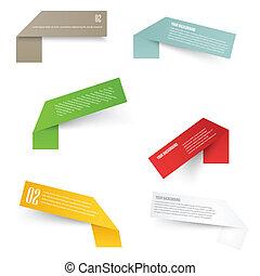 agudo, conjunto, esquinas, labels., blanco, rectángulo