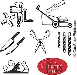 agudo, herramientas, engranaje, mano