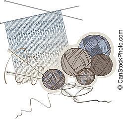 agujas, patrón, pelotas, tejido de punto, lana