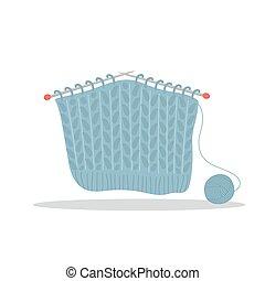 agujas, sastre, tienda, estilo, elements., vector, pelota, caricatura, yarn., plano, lindo, dibujado, ilustración, tejido de punto, mano