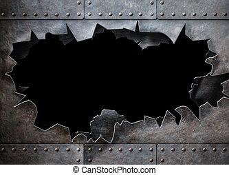 agujero, metal, plano de fondo, vapor, punk, armadura