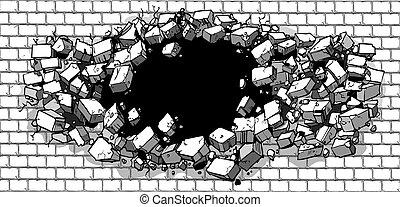 Agujero rompiendo la pared de ladrillos