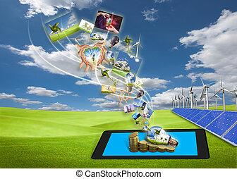 Ahorrando imágenes de flujo de energía de tablillas en el campo con células solares y turbinas de viento