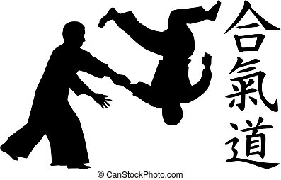 aikido, señales, luchadores, caligraphy
