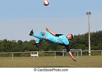aire, futbolista, espalda, patada