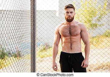 aire libre, guapo, condición física, shirtless, entrenamiento, hombre, durante