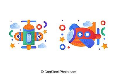aire, plano, aviones, conjunto, lindo, transporte, ilustración, vector, juguete
