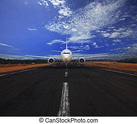 airp, pasajero, corriente, avión, aire