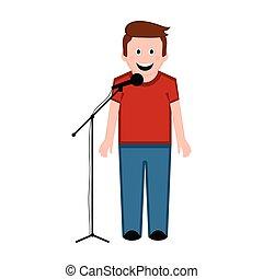 Aislado ícono cantante masculino