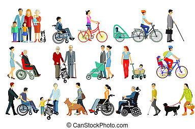 aislado, ayudas, grupo, gente, familias, desventajas, ambulante, cuidado, toma