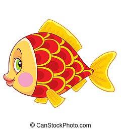 aislado, blanco, grande, ilustración, lindo, vector, carácter, objeto, pescados rojos, ojos, plano de fondo, caricatura