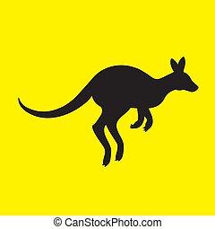 aislado, canguro, silueta, amarillo, fondo., animal, imagen, vector