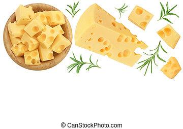 aislado, colocar, text., queso, plano, tazón de madera, su, pedazo, vista, blanco, espacio de copia, fondo., cima