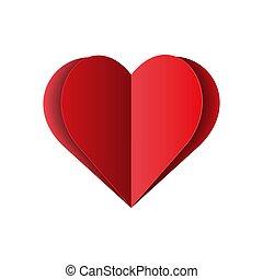 aislado, corazón, fondo., ilustración, rojo, vector, papel, blanco, amor
