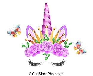 aislado, cuerno, butterflies., fabuloso, blanco, lindo, unicornio, princesa, hada, guirnalda, vuelo, flores, fondo., corona de oro, rosas rosa, corona
