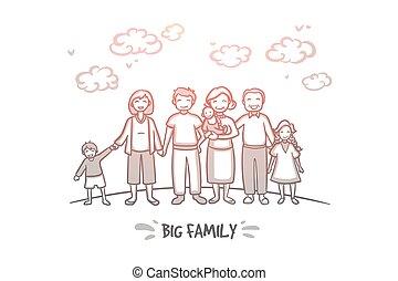 aislado, familia , mano, vector., concept., grande, dibujado