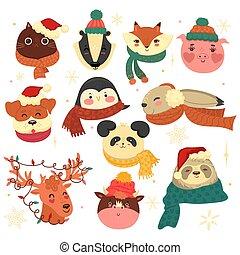 aislado, fondo., navidad, conjunto, animales, blanco, graphics., vector