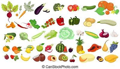 aislado, fondo., vector, conjunto, blanco, graphics., vegetales, fruits