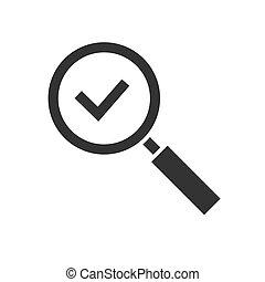 aislado, glas, aumentar, negro, checkmark, icono