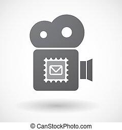 Aislado icono de cámara retro con un sello postal