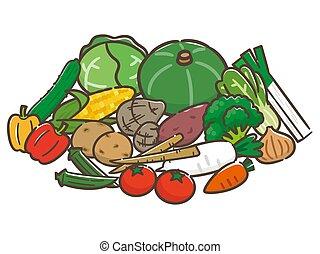 aislado, ilustración, plano de fondo, blanco, vegetales