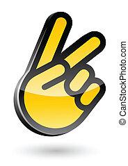 aislado, ilustración, señal, vector, victoria, plano de fondo, gesticulate, blanco, mano