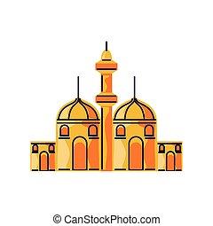 aislado, islámico, torre, caricatura, estilo, ciudad, mezquita, edificio
