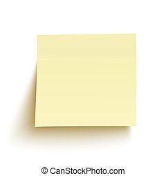 aislado, nota pegajosa amarilla, plano de fondo, blanco