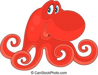 aislado, objeto, rojo, caricatura, lindo, ilustración, ojos, pulpo, fondo blanco, vector, grande