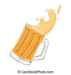 aislado, onda, coloreado, cerveza