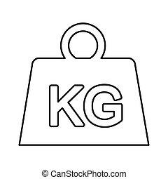 aislado, peso, kilogramo, icono