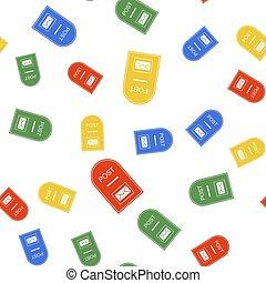 aislado, poste, color, caja, seamless, patrón, fondo., icon., blanco, icono, correo, vector
