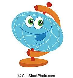 aislado, puesto, tabla, blanco, grande, carácter, escuela, ojos, plano de fondo, globo, objeto, ilustración, azul, vector