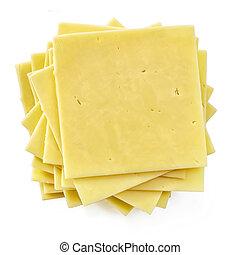 aislado, rebanadas, pila, queso, punta la vista