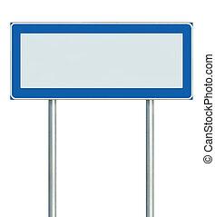 aislado, signage, signboard, señal, poste, blanco, indicador, azul, información, espacio, negro, zona lateral de camino, blanco, vacío, poste indicador, iconos, poste, copia, información, pictograms, grande, camino