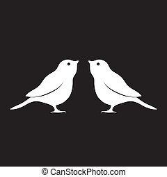 aislado, silueta, pájaro, vector, negro, imagen, logotipo, fondo., blanco