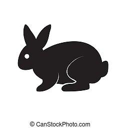 aislado, silueta, vector, negro, liebre, estilizado, imagen, logotipo, fondo., blanco
