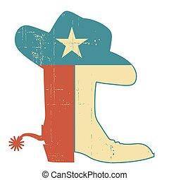 aislado, sombrero, bandera, ilustración, decoration., tejas, botas, grunge, norteamericano, vendimia, vaquero, símbolo, white., vector