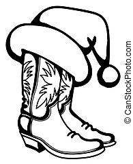 aislado, sombrero, santa, fondo., navidad, printable, botas, blanco, vector, vaquero, tradicional, ilustración, gráfico