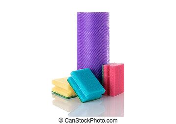 aislado, sponge., equipo, white., service., fondo., limpio, plato, cocina, limpiador, suministros, casa, amarillo, espuma, esponja