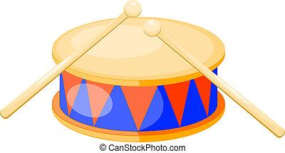 aislado, vector, fondo., tambor, illustration., blanco