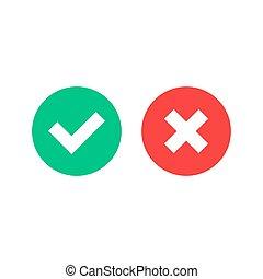 aislado, vector, marca, icons., plano, cheque, cross., plano de fondo, rojo, conjunto, verde, checkmark, blanco, iconos