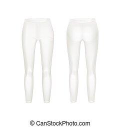 aislado, vector, polainas, plano de fondo, pantalones blancos