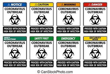 aislar, plano de fondo, coronavirus, señal, brote, ilustración, blanco