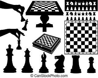 ajedrez, ilustración, pedazos